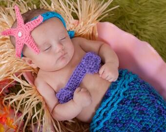 Mermaid baby costume.  Tail, top and matching headband.