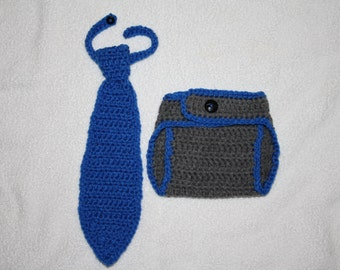 Crochet necktie with matching diaper cover. Photo prop. Handmade to order.
