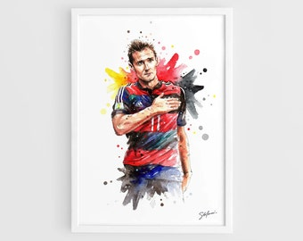 Miroslav Klose (Germany national football team) FIFA World Cup Brasil 2014 - A3 Wall Art Print Poster of the Original Watercolor Painting