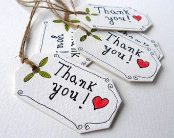 Thank you gift tags- Set of 5, 10, 15, 20. 50, 100 cardstock tags for gifts and crafts, gift tags with satin ribbons or natural linen thread