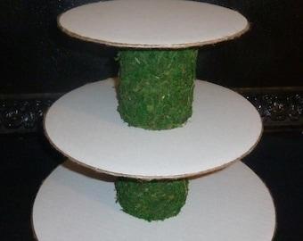 tier jute moss green kraft tan woodland rustic wedding cupcake stand tower display holder candy buffet dessert bar table disassembled DIY