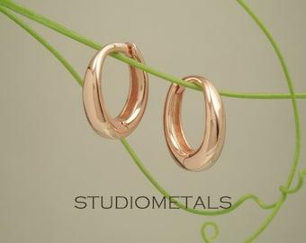 14K Rose Gold Hoop Earrings, Rose Gold Huggie Earring, Small Gold Hoops, Gold Hoop Earring, Solid Rose Gold Earrings, 13mm, E577