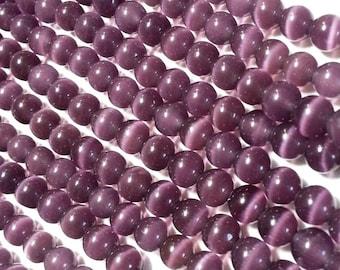 Purple Round Cat's Eye Beads - 6mm
