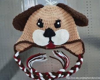 Crochet Dog Earflap Hat Pattern : Baby Animal Hat, Crochet pattern, Puppy hat Pattern ...