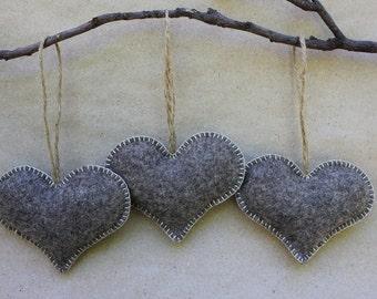 Natural Wool Felt Hearts