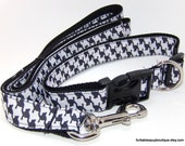 houndstooth pet leash & adjustable collar set. 15-26""