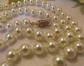 Lovely White Glass Faux Pearl Necklace Hand Knotted 24 inches long
