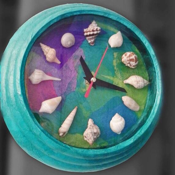 Seashell decoupage wall clock by twomerzgirls on etsy for Seashell wall clock