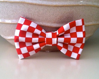 Dog Bow Tie- Red Checker