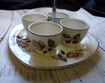 Midwinter Stylecraft Kashmir Egg Cups 7 Carry Tray C. 1950's