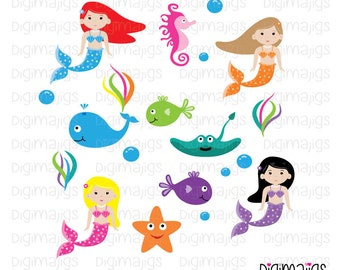 Mermaid Clipart, Mermaid Graphics, Cute Mermaid Clipart Set, , Commercial Use OK, Ocean Clipart, Vector Graphics, Cute Sea Clipart,