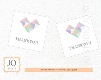 Pastel Geometric Favour Tags / Thankyou Tags / Watercolor Birthday / Wedding - INSTANT DOWNLOAD