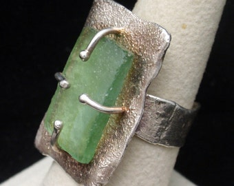 Sterling Silver Ring with Beach Glass Size 7 1/2