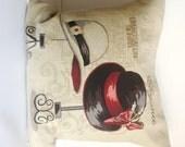 Paris Vintage fashion Cushion Cover, Decorative Ladies' hats in Burgundy Black and Cream