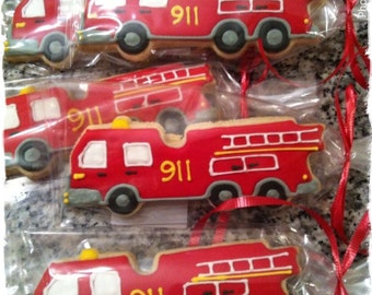 Firetruck custom decorated cookies - 1 Dozen