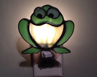 Frog, Stained Glass Night Light, Sun Catcher, Custom Made, Hand Made