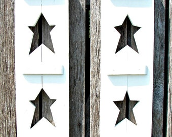 "Decorative wood shutters with 2  stars in each.  24"" tall and 7"" wide, many colors and size's."