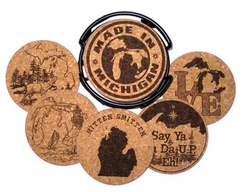Michigan Themed Assorted Etched Cork Coaster Set