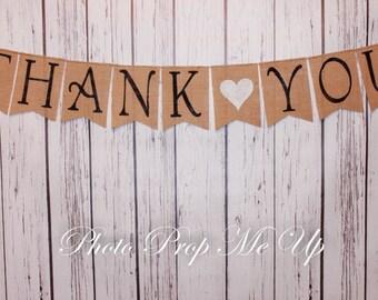 Thank You Burlap Banner Photography Prop