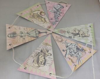 Alice in Wonderland Paper Bunting - Printed on 225gsm Card - 2m long - Design 3