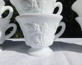 6 Pretty Milk Glass Mugs-Punch Cups With Grape Pattern