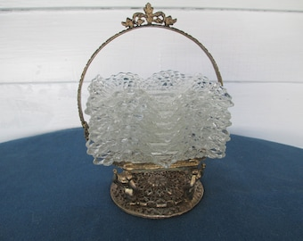 Vintage Diamond Point Ashtray Set With Brass Basket Holder Set of Six Depression Glass Collectible Tobaccaina  Home Decor
