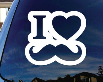 "I Love MUSTACHE 5"" Vinyl Decal Window Sticker for Car, Truck, Motorcycle, Laptop, Ipad, Window, Wall, ETC"