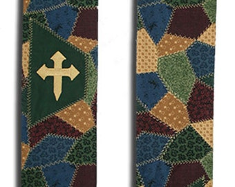Clergy Stole, Green Clergy Stole, Ordinary Time Clergy Stole, Multi Color Clergy Stole, Patchwork Clergy Stole, Custom Embroidery Inside