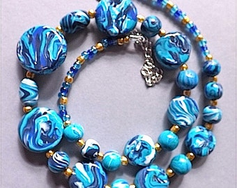 Sensational faux Sea Sediment necklace, colourful faux aqua sea sediment Jasper .