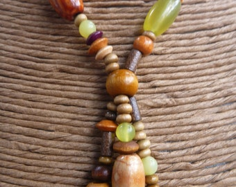 Wood and Peridot Bead Necklace