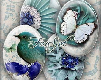 Blue-Green Flower Butterfly Bird gem - Digital Collage Sheet,30x40 mm,22x30 mm,18x25 mm,13x18 mm Oval,Scrapbooking.Glass Pendants.Charms