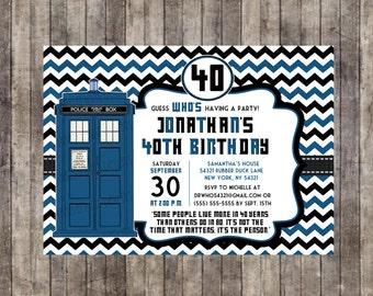 Custom, Personalized Dr. Who Birthday Invitation