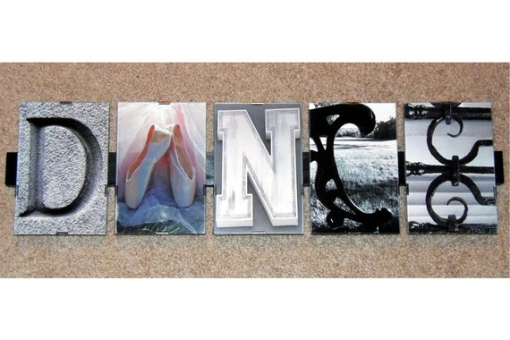 DANCE Word Art Picture Frame, Alphabet Photography, 4x6 images, Ballet ...