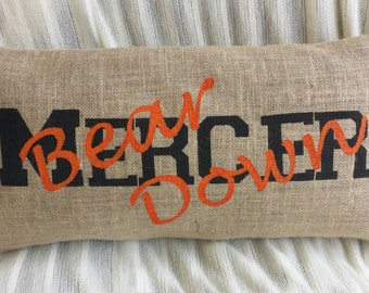 Mercer Bears Painted Burlap Pillow, 24x12