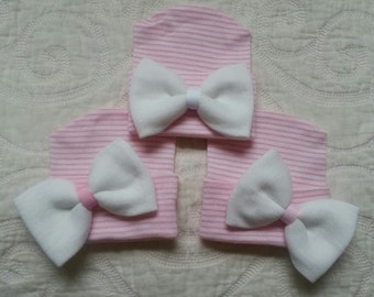 Pink and White Hospital Newborn Beanie, Newborn's First Bow! Newborn hat with White Bow.