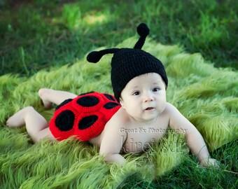 Halloween Costume - Lady Bug Costumue - Baby Newborn Knit Crochet Lady Bug Photo Prop 3pcs Costume
