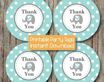 Printable Elephant Thank You Tags Boy Baby Shower Birthday Party diy Favor Stickers Light Teal Grey Favor Tags Party INSTANT DOWNLOAD - 088