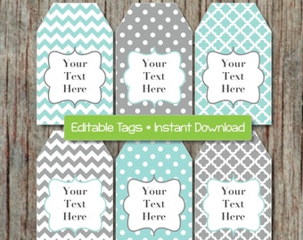 Editable Gift Tags Printable Labels Digital Collage Editable JPG File ...
