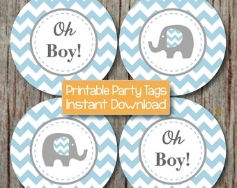 oh boy baby shower decorations elephant cupcake toppers baby shower favor tags instant download powder