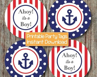 Nautical Baby Shower Decoration Anchor Ahoy Its A Boy Navy Blue Red  Printable Nautical Shower INSTANT