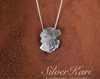 Kooikerhondje silver pendant with chain