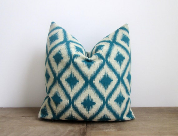 Ikat Throw Pillows Etsy : Tourmaline Ikat Throw Pillow by MyLittlePillowShop on Etsy