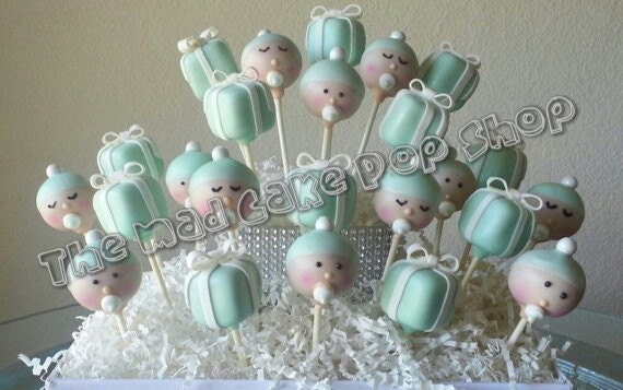 Cake Pop Centerpieces For Baby Shower : Gift Box and Babies Baby Shower Cake Pops Robin Egg Blue