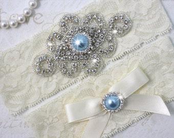 Best Seller - ZANNA - Light Blue Pearl Wedding Garter Set, Ivory Lace Garter, Rhinestone Crystal Bridal Garters, Something Blue