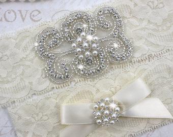 STACY II - Pearl Wedding Garter Set, Wedding Stretch Lace Garter, Rhinestone Crystal Bridal Garters