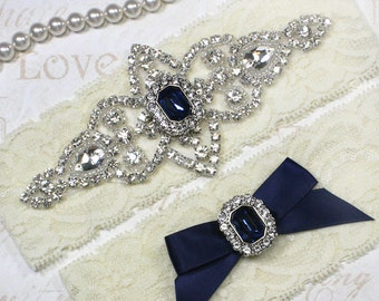 Best Seller - CHLOE II - Sapphire Blue Wedding Garter Set, Lace Garter, Rhinestone Crystal Bridal Garters, Something Blue