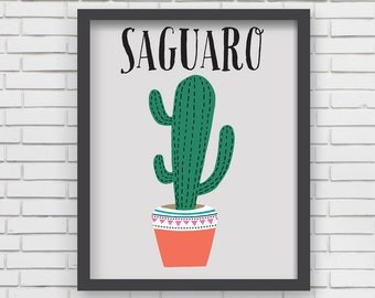 Southwest Art Print Home Decor - Saguaro Cactus Print - 11x14