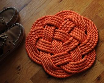 Nautical Decor Navy Rope Rug Navy Bath Mat Cotton Rope