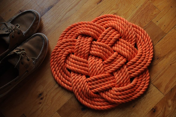 Rope rug smaller bath mat orange cotton rope rug for Rope bath mat