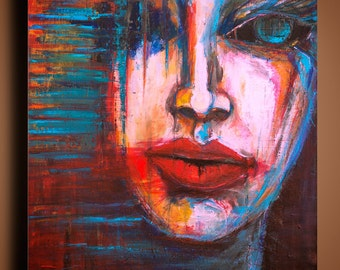 Red Lips, ORIGINAL PORTRAIT PAINTING Acrylic On Canvas, Modern textured painting, Woman Modern expression Colourful Expression by Anna Bulka